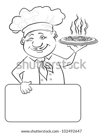 Cartoon cook - chef with delicious hot pizza and poster, free for your text, black contour on white background. Vector illustration