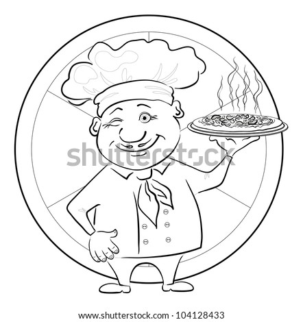 Cartoon cook - chef with delicious hot pizza on a circular background, black contour on white background. Vector illustration
