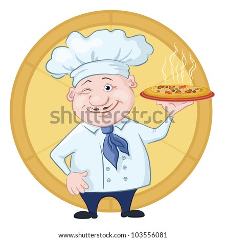 Cartoon cook - chef with delicious hot pizza on a circular background. Vector