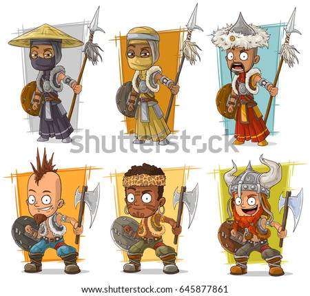 cartoon cool different warriors
