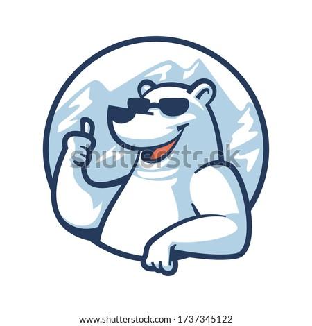 cartoon cool polar bear mascot