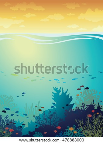 cartoon coral reef with school