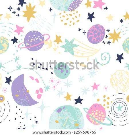 Cartoon cosmic background: cute planets, moon, shooting stars, galaxy, milky way. Cosmos art illustration, grunge, doodle textures. Kids design for nursery