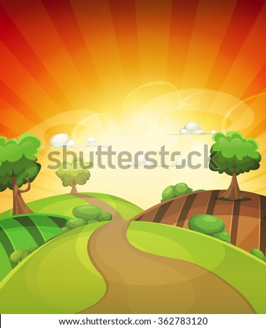 cartoon country background in