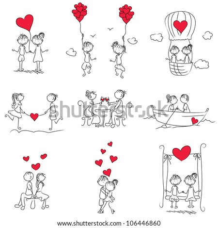 cartoon couple doodle with red heart shape