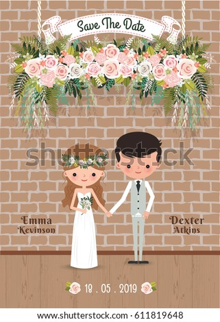 Cartoon couple rustic blossom flowers save the date wedding invitation card, with brick wall #611819648