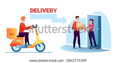 cartoon courier worker man
