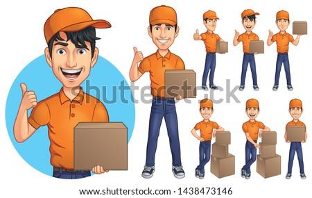 Cartoon Courier Young Man Mascot Character