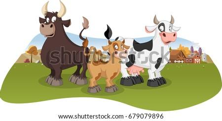 Cartoon cow, calf and bull. Farm background.