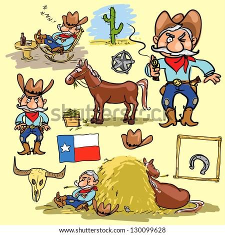 cartoon cowboy  hand drawn set...