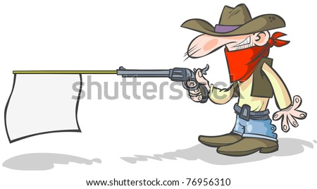 Cartoon cowboy holding a banner gun.
