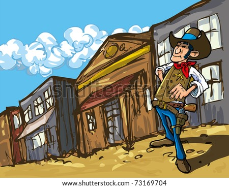 Cartoon cowboy in a western old west town looking down the street