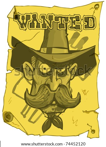 Cartoon cowboy wanted poster from the old west - stock vector