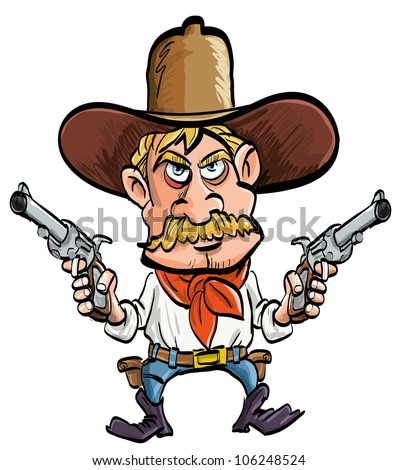 Cartoon cowboy with his guns drawn. Isolated on white