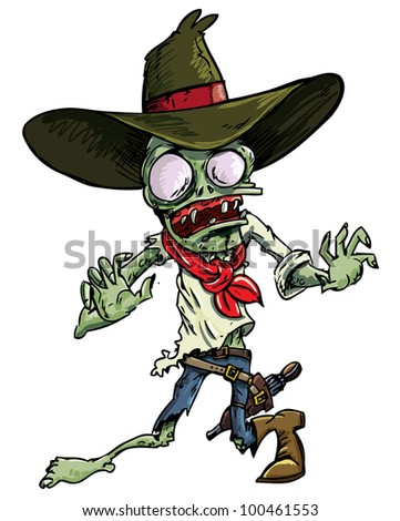 Cartoon cowboy zombie with gun belt and hat. Isolated on white