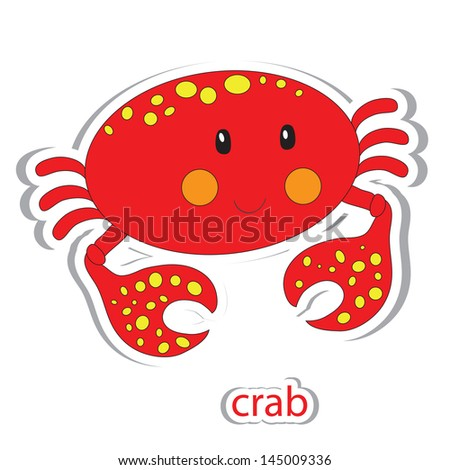 cartoon crab isolated on white
