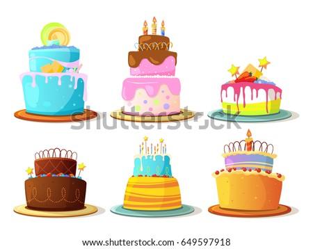 Cartoon cream cakes set isolate on white background. Vector illustrations
