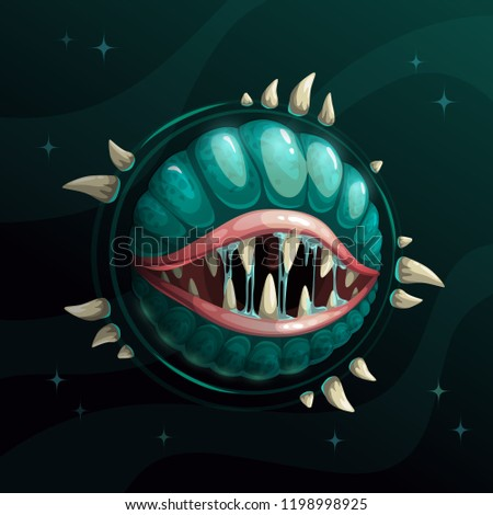 Stock Photo Cartoon creepy monster planet with spittle mouth and jaws on the dark space background. Fantasy space asset for game design. Vector cosmic illustration.