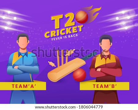 Cartoon Cricketers of Participant Team A & B with Equipment on Purple Lights Effect Background for T20 Cricket Fever Is Back.