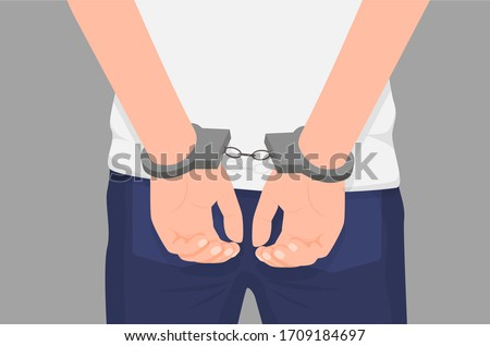 Cartoon crime man hands in handcuff at back isolated. Colorful arrested male arms wearing manacle behind vector graphic illustration. Close up law perpetrator at prison Stockfoto ©