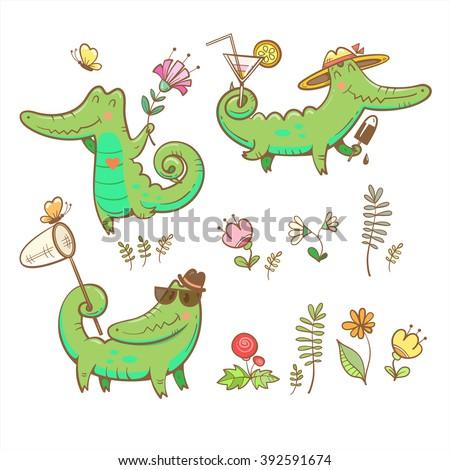 cartoon crocodiles set summer