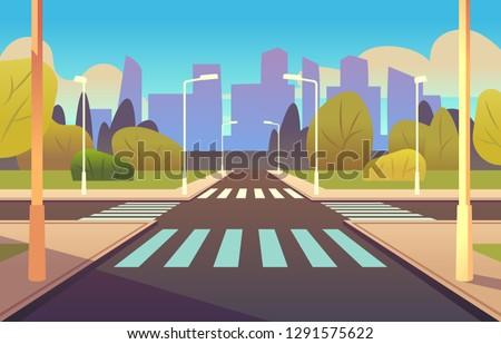 Cartoon crosswalks. Street road crossing highway traffic urban landscape building, crosswalk car, pedestrian empty sidewalk vector