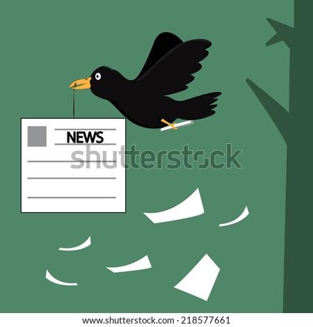 cartoon crow pass on the information, Cartoon crow the