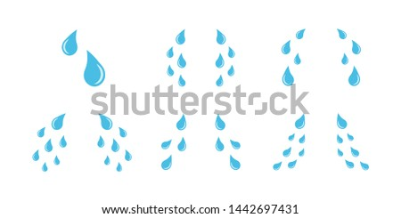 Cartoon cry tears icon set. Tear drops symbols isolated on white background