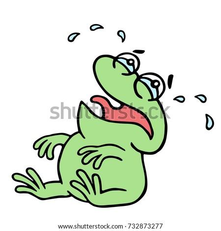 cartoon crying green frogling
