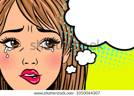 Cartoon crying woman. Annoyed, depressed and exhausted young lady with curved mouth in retro style, vector illustrationj