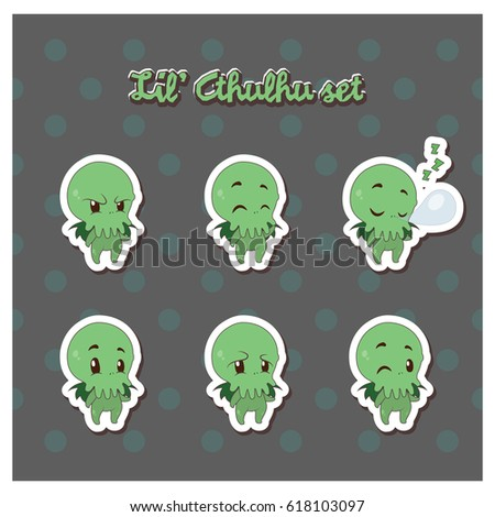 cartoon cthulhu sticker