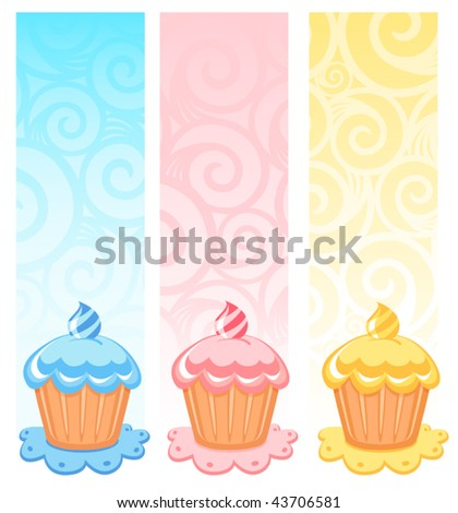 Pink birthday cupcake cartoon