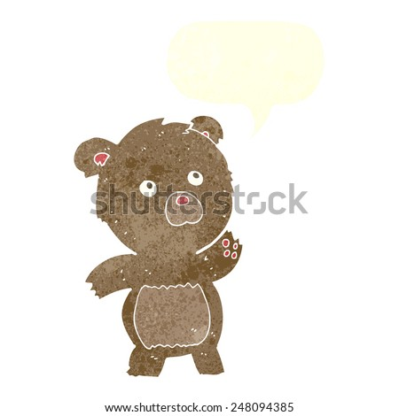 cartoon curious teddy bear with