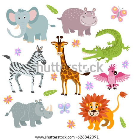 Cartoon cute african savanna animals vector set