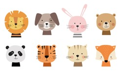 Cartoon cute animals for baby card and invitation. Vector illustration. Lion, dog, bunny, bear, panda, tiger, cat, fox.
