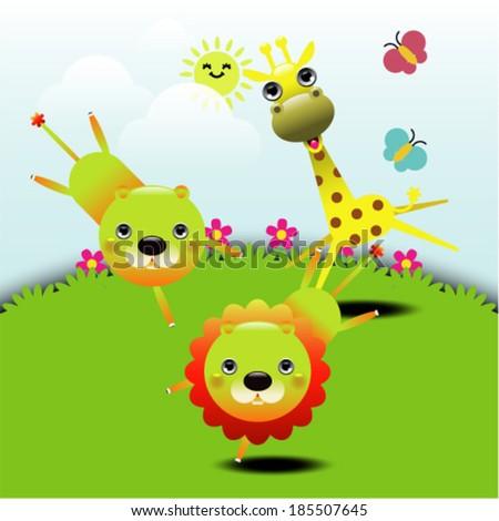 Cartoon cute animals greeting card. Vector illustration #185507645