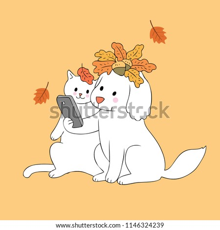cartoon cute autumn dog and cat