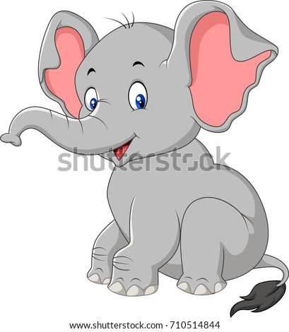 Cartoon cute baby elephant sitting