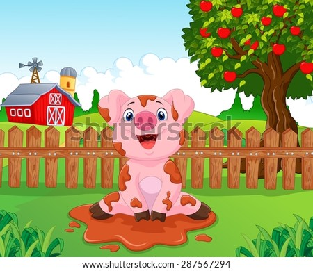 cartoon cute baby pig in the