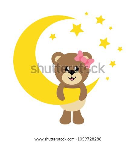 cartoon cute bear girl with bow and moon