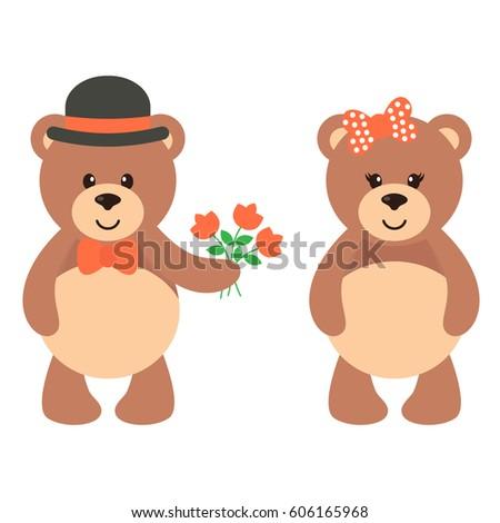 cartoon cute bear with flowers