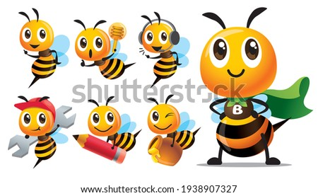 Cartoon cute bee character series with different type of poses. Cute Bee with superhero costume, holding pencil, holding honey dripper and honey pot, holding spanner - mascot set