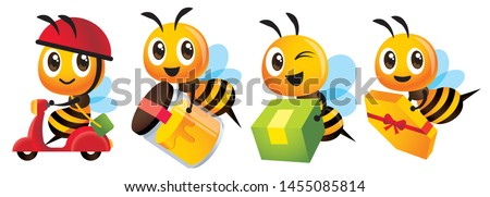 Cartoon cute bee mascot set. Cartoon cute bee deliver product set. Cute bee ride scooter, cute bee carry organic honey bottle - Vector character mascot set
