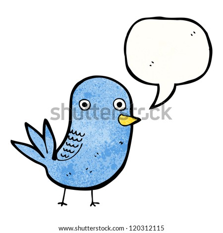 cartoon cute bird with speech bubble