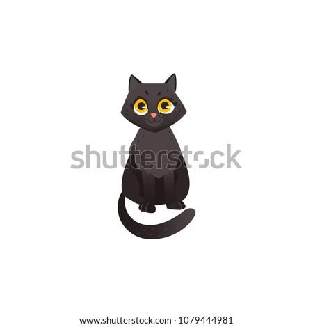 cartoon cute black cat animal