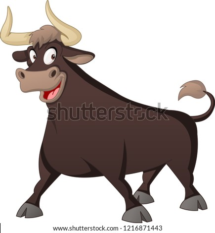 Cartoon cute bull. Vector illustration of funny happy animal.