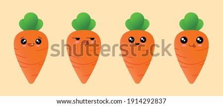 Cartoon Cute Carrot. Happy Carrot. Orange Carrot. Carrot Illustration. Set of Cute Vegetables. Vector Illustration.