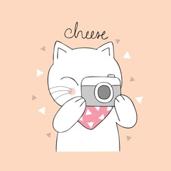 Cartoon cute cat and camera vector.