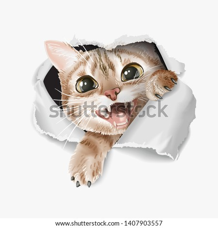 cartoon cute cat through ripped paper illustration