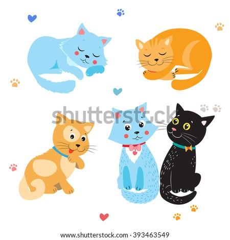 cartoon cute cats vector set
